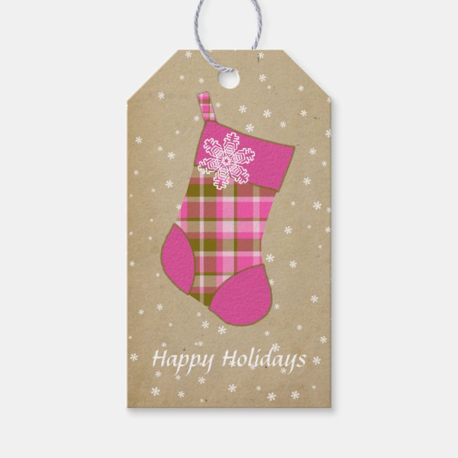 Tartan Christmas Stocking Hot Pink and Olive ID209