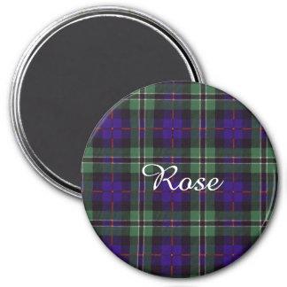 Tartán color de rosa del escocés de la tela imán redondo 7 cm
