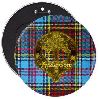 Tartán de Anderson y botón del adorno Pin Redondo De 6 Pulgadas