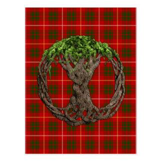 Tartán de Bruce del clan y árbol de la vida céltic Tarjeta Postal