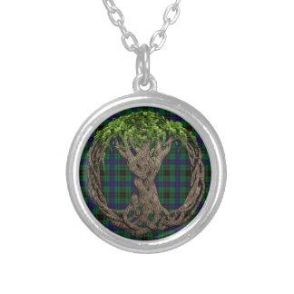 Tartán de Davidson del clan y árbol de la vida cél Colgante Redondo