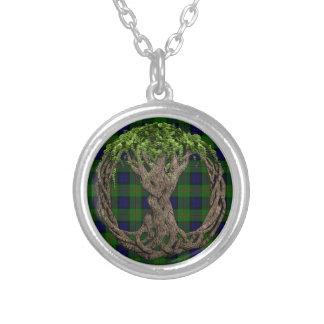 Tartán de Dundas del clan y árbol de la vida célti Colgante Redondo