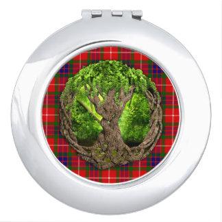 Tartán de Fraser del clan y árbol de la vida Espejo Compacto