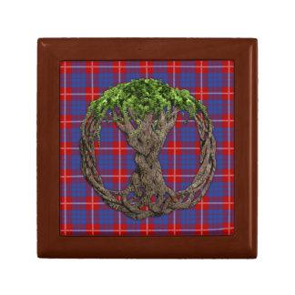 Tartán de Hamilton del clan y árbol de la vida cél Joyero Cuadrado Pequeño