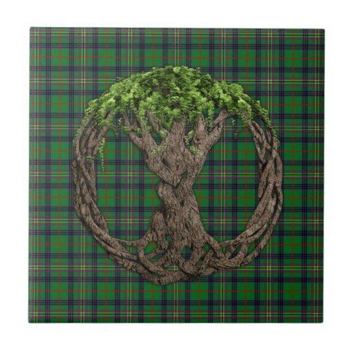 Tartán de Kennedy del clan y árbol de la vida célt Azulejo Ceramica