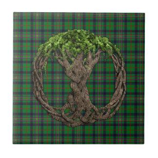 Tartán de Kennedy del clan y árbol de la vida célt Azulejo Cuadrado Pequeño