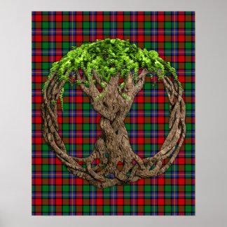Tartán de Kilgore del clan y árbol de la vida célt Poster