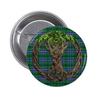 Tartán de la caza de Wishart del clan y árbol de C Pin Redondo De 2 Pulgadas