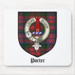 Tartán de la insignia del escudo del clan del port alfombrillas de raton