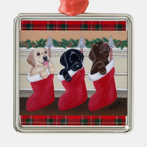 Tartán de los perritos de Labrador del navidad Ornaments Para Arbol De Navidad