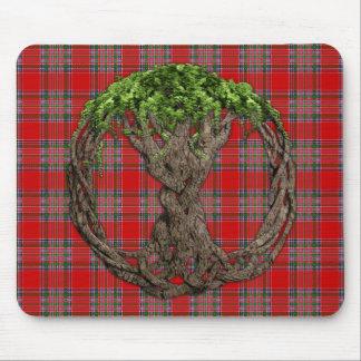 Tartán de MacBean del clan y árbol de la vida célt Tapete De Ratón