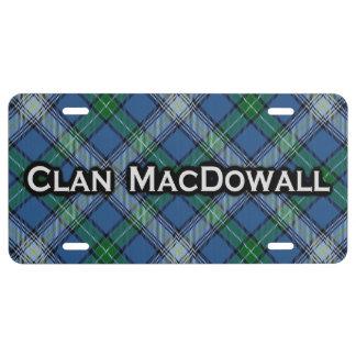 Tartán de MacDowall del clan Placa De Matrícula