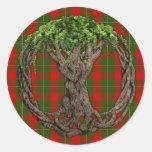 Tartán de MacGregor del clan y árbol de la vida Pegatina Redonda
