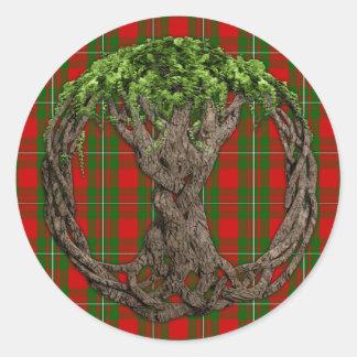 Tartán de MacGregor del clan y árbol de la vida Etiquetas Redondas