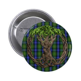 Tartán de MacLaren del clan y árbol de la vida cél Pin Redondo De 2 Pulgadas