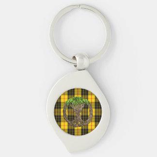 Tartán de MacLeod del clan y árbol de la vida Llavero Plateado En Forma De Espiral