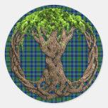 Tartán de Miller del clan y árbol de la vida Pegatina Redonda