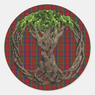 Tartán de Robertson del clan y árbol de la vida Etiqueta Redonda