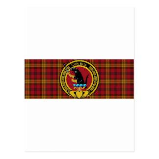 Tartán del clan de Rourke grande con el escudo gra Postales