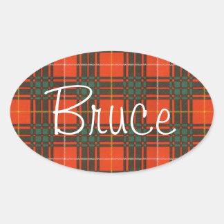 Tartán del escocés de Bruce Calcomanía Ovalada