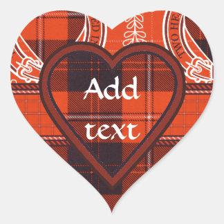 Tartán del escocés de Cunningham Pegatina En Forma De Corazón