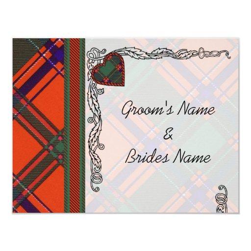 """Tartán del escocés de Dalzell Invitación 4.25"""" X 5.5"""""""