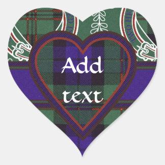 Tartán del escocés de Dundas Pegatina En Forma De Corazón
