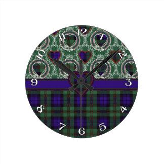 Tartán del escocés de Dundas Reloj Redondo Mediano