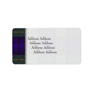 Tartán del escocés de la tela escocesa del clan de etiqueta de dirección