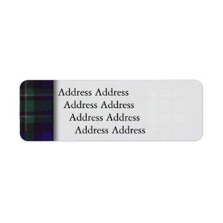 Tartán del escocés de la tela escocesa del clan de etiquetas de remite