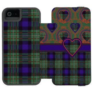Tartán del escocés de la tela escocesa del clan de funda billetera para iPhone 5 watson