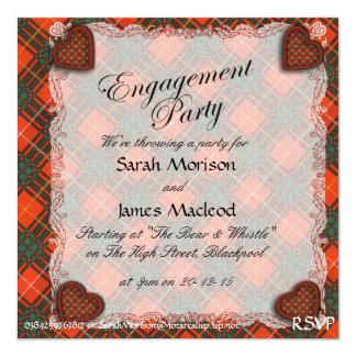 """Tartán del escocés de la tela escocesa del clan de invitación 5.25"""" x 5.25"""""""
