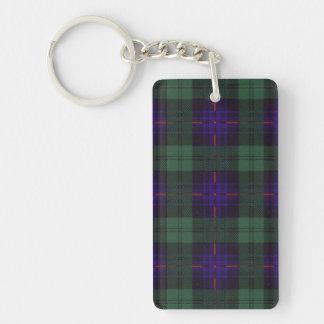 Tartán del escocés de la tela escocesa del clan de llavero rectangular acrílico a una cara