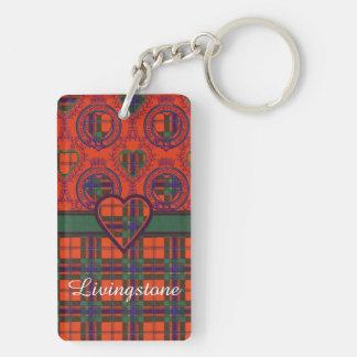 Tartán del escocés de la tela escocesa del clan de llavero rectangular acrílico a doble cara