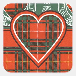 Tartán del escocés de la tela escocesa del clan de pegatina cuadrada