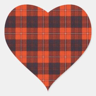 Tartán del escocés de la tela escocesa del clan de pegatina en forma de corazón