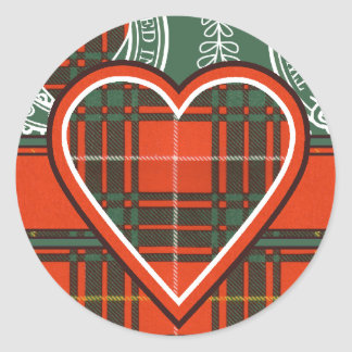 Tartán del escocés de la tela escocesa del clan de pegatina redonda