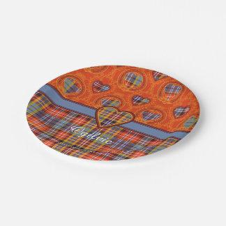 Tartán del escocés de la tela escocesa del clan de plato de papel de 7 pulgadas