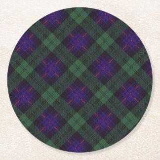 Tartán del escocés de la tela escocesa del clan de posavasos de cartón redondo