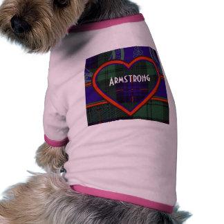 Tartán del escocés de la tela escocesa del clan de camiseta con mangas para perro