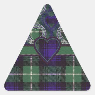 Tartán del escocés de Lamont Pegatina Triangular