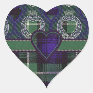 Tartán del escocés de Lamont Pegatina En Forma De Corazón