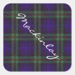 Tartán del escocés de Mackinlay Calcomanía Cuadradas Personalizadas