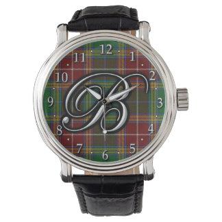 Tartán del monograma de la letra B de Baxter del Relojes De Mano