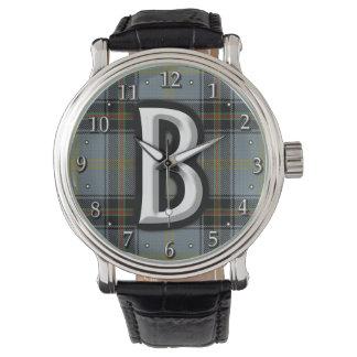 Tartán del monograma de la letra B de Bell del Relojes