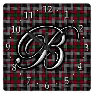 Tartán del monograma de la letra B de Borthwick Reloj Cuadrado