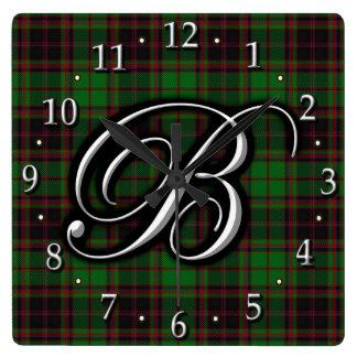 Tartán del monograma de la letra B de Buchan del Reloj Cuadrado