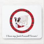 Tartán del navidad de Jack Russell Terrier Alfombrilla De Ratón
