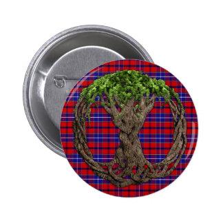 Tartán del vestido de Wishart del clan y árbol de  Pin Redondo De 2 Pulgadas