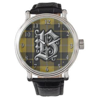 Tartán del vestido del monograma de la letra B de Relojes De Mano